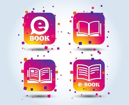 Electronic book icons. E-Book symbols. Speech bubble sign. Colour gradient square buttons. Flat design concept. Vector