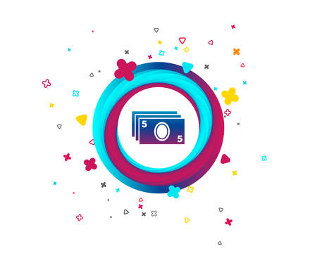 Cash sign icon. Paper money symbol. For cash machines or ATM. Colorful button with icon. Geometric elements. Vector Illustration