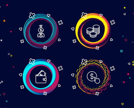 Set of Manager, Wallet and Tips icons. Buy currency sign. Work profit, Usd cash, Cash coins. Money exchange.  Circle banners with line icons. Gradient colors shapes. Vector Vectores