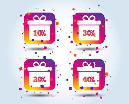 Sale gift box tag icons. Discount special offer symbols. 10%, 20%, 30% and 40% percent discount signs. Colour gradient square buttons. Flat design concept. Vector