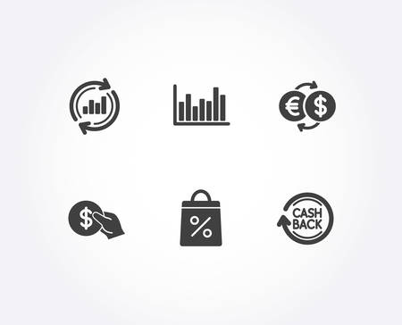 Set of Bar diagram, Payment and Shopping bag icons. Money exchange, Update data and Cashback signs. Statistics infochart, Supermarket discounts. Shopping, Sales chart, Refund commission. Vector Illusztráció