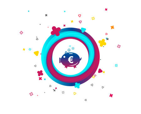 Piggy bank sign icon. Moneybox euro symbol. Colorful button with icon. Geometric elements. Vector