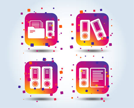 Accounting icons. Document storage in folders sign symbols. Colour gradient square buttons. Flat design concept. Vector Stock Vector - 110245662