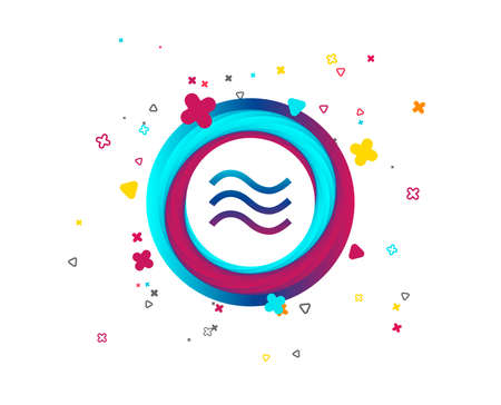 Water waves sign icon. Flood symbol. Colorful button with icon. Geometric waves elements. Vector