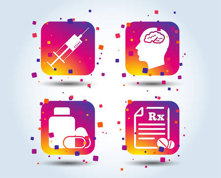 Medicine icons. Medical tablets bottle, head with brain, prescription Rx and syringe signs. Pharmacy or medicine symbol. Colour gradient square buttons. Flat design concept. Vector