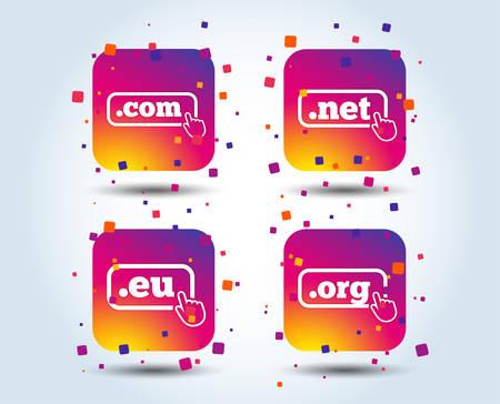 Top-level internet domain icons. Com, Eu, Net and Org symbols with hand pointer. Unique DNS names. Colour gradient square buttons. Flat design concept. Vector