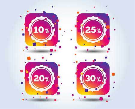 Sale discount icons. Special offer stamp price signs. 10, 20, 25 and 30 percent off reduction symbols. Colour gradient square buttons. Flat design concept. Vector Illustration