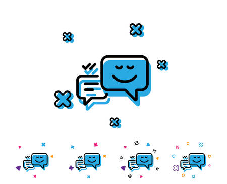 Message speech bubbles with Smile line icon. Chat emotion sign. Line icon with geometric elements. Bright colourful design. Vector