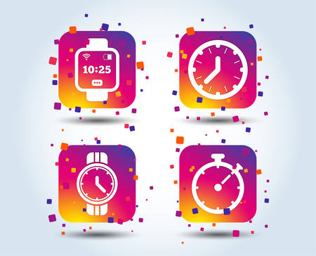 Smart watch icons. Mechanical clock time, Stopwatch timer symbols. Wrist digital watch sign. Colour gradient square buttons. Flat design concept. Vector
