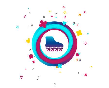 Icono de signo de patines. Símbolo de patines. Botón colorido con icono. Elementos geométricos. Vector Ilustración de vector