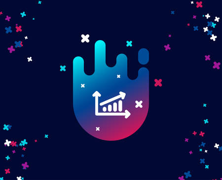 Chart simple icon. Report graph or Sales growth sign. Analysis and Statistics data symbol. Cool banner with icon. Abstract shape with gradient. Vector Ilustração