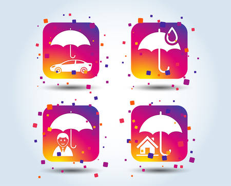 Life, Real estate or Home insurance icons. Umbrella with water drop symbol. Car protection sign. Colour gradient square buttons. Flat design concept. Vector