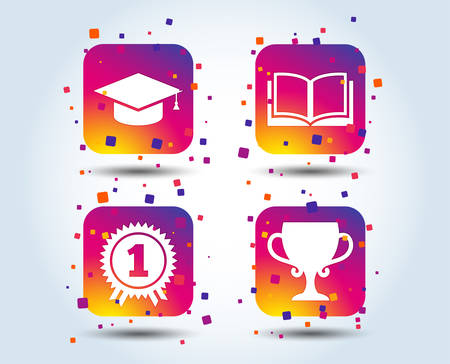 Graduation icons. Graduation student cap sign. Education book symbol. First place award. Winners cup. Colour gradient square buttons. Flat design concept. Vector Ilustração