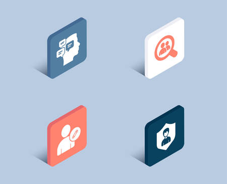 Set of Edit user, Messages and Search employees icons. Security agency sign. Profile data, Notifications, Staff analysis. People protection.  3d isometric buttons. Flat design concept. Vector Illustration