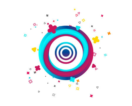Target aim sign icon. Darts board symbol. Colorful button with icon. Geometric elements. Vector
