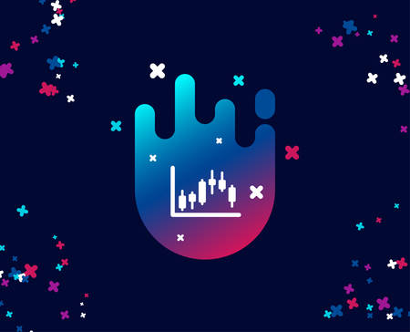 Candlestick chart simple icon. Financial graph sign. Stock exchange symbol. Business investment. Cool banner with icon. Abstract shape with gradient. Vector Zdjęcie Seryjne - 110245684