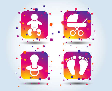 Baby infants icons. Toddler boy with diapers symbol. Buggy and dummy signs. Child pacifier and pram stroller. Child footprint step sign. Colour gradient square buttons. Flat design concept. Vector Illustration