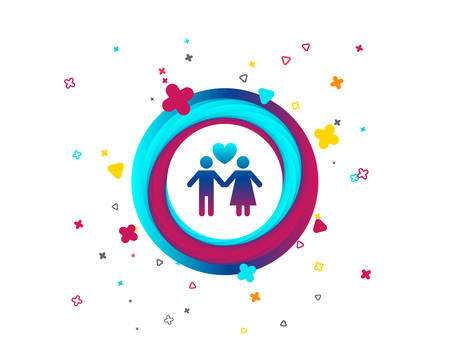 Couple sign icon. Male love female. Lovers with heart. Colorful button with icon. Geometric elements. Vector Vecteurs
