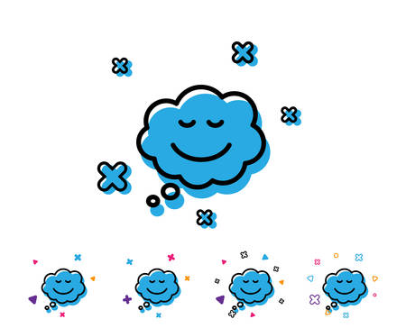 Comic speech bubble with Smile line icon. Chat emotion sign. Line icon with geometric elements. Bright colourful smile design. Vector