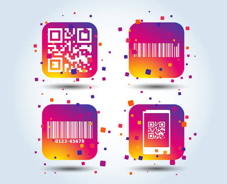 Bar and Qr code icons. Scan barcode in smartphone symbols. Colour gradient square buttons. Flat design concept. Vector Illustration