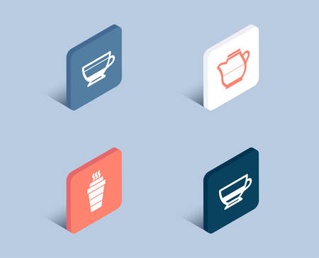 Set of Dry cappuccino, Milk jug and Takeaway icons. Bombon coffee sign. Beverage mug, Fresh drink, Takeout coffee. Cafe bombon.  3d isometric buttons. Flat design concept. Vector