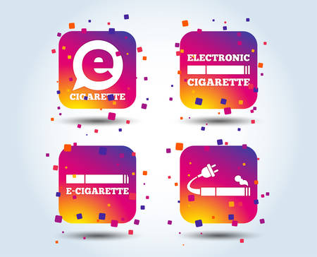 E-Cigarette with plug icons. Electronic smoking symbols. Speech bubble sign. Colour gradient square buttons. Flat design concept. Vector