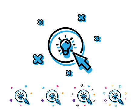 Idea lamp line icon. Mouse cursor sign. Light bulb symbol. Line icon with geometric elements. Bright colourful idea light bulb design. Vector