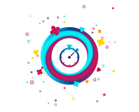 Timer sign icon. Stopwatch symbol. Colorful button with icon. Geometric elements. Vector