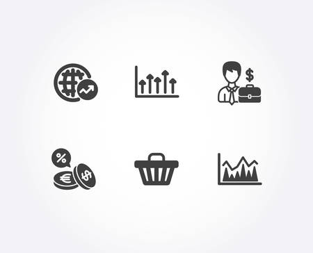 Set of World statistics, Businessman case and Growth chart icons. Currency exchange, Shop cart and Investment signs. Global report, Human resources, growth chart. Vector