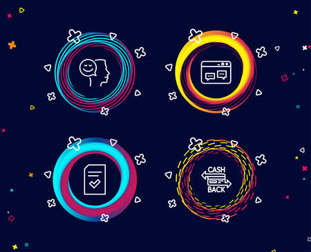 Set of Checked file, Browser window and Good mood icons. Cashback card sign. Correct document, Website chat, Positive thinking. Money payment.  Circle banners with line icons. Gradient colors shapes