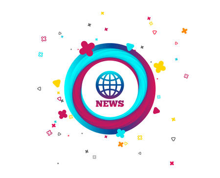 News sign icon. World globe symbol. Colorful button with icon. Geometric elements. Vector