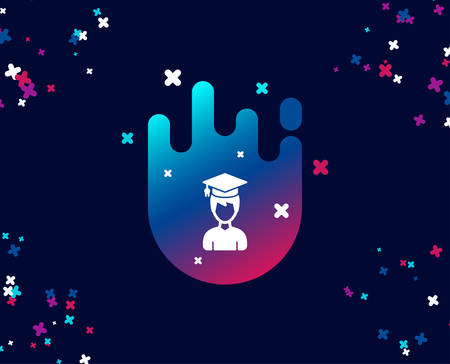 Man in Graduation cap simple icon. Education sign. Student hat symbol. Cool banner with icon. Abstract shape with gradient. Vector 일러스트