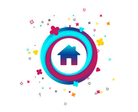 Home sign icon. Main page button. Navigation symbol. Colorful button with home icon. Geometric elements. Vector Ilustrace