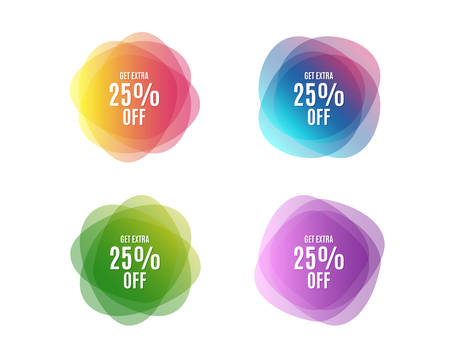 Get Extra 25% off Sale. Discount offer price sign. Special offer symbol. Save 25 percentages. Colorful round banners. Overlay colors shapes. Abstract design extra discount concept. Vector