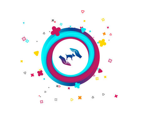 Protection of animals pets sign icon. Hands protect dog symbol. Shelter for dogs. Animals insurance. Colorful button with icon. Geometric elements. Vector