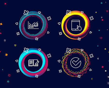 Set of Financial diagram, Feedback and Tablet pc icons. Verify sign. Candlestick chart, Book with pencil, Touchscreen gadget. Selected choice.  Circle banners with line icons. Gradient colors shapes Illustration