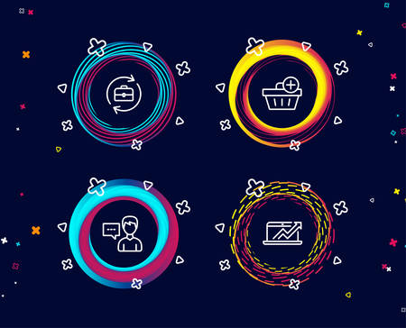 Set of Add purchase, Person talk and Human resources icons. Sales diagram sign. Shopping order, Communication message, Job recruitment. Sale growth chart.  Circle banners with line icons. Vector