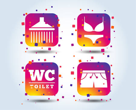 Swimming pool icons. Shower water drops and swimwear symbols. WC Toilet sign. Trunks and women underwear. Colour gradient square buttons. Flat design concept. Vector Illustration