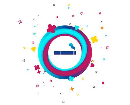 Icône de signe de fumer. Symbole de la cigarette. Bouton coloré avec icône. Éléments géométriques. Vecteur