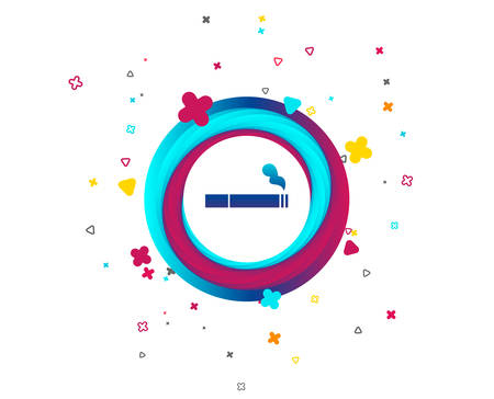 Smoking sign icon. Cigarette symbol. Colorful button with icon. Geometric elements. Vector Illustration