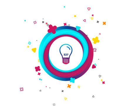 Light bulb icon. Lamp E27 screw socket symbol. Led light sign. Colorful button with icon. Geometric elements. Vector
