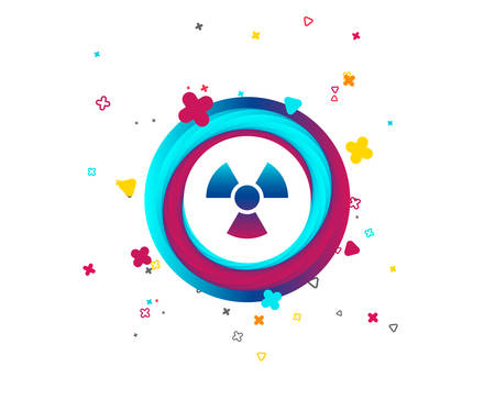 Radiation sign icon. Danger symbol. Colorful button with icon. Geometric elements. Vector