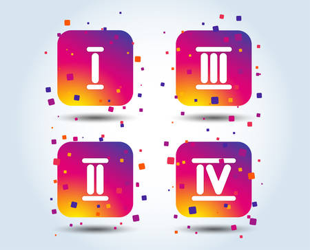 Roman numeral icons. 1, 2, 3 and 4 digit characters. Ancient Rome numeric system. Colour gradient square buttons. Flat design concept. Vector