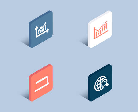 Set of Graph, Financial diagram and Laptop icons. Internet search sign. Presentation diagram, Candlestick chart, Mobile computer. Web finder.  3d isometric buttons. Flat design concept. Vector