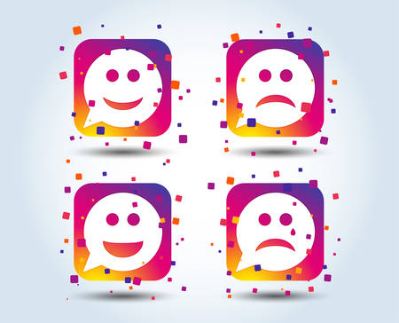 Speech bubble smile face icons. Happy, sad, cry signs. Happy smiley chat symbol. Sadness depression and crying signs. Colour gradient square buttons. Flat design concept. Vector
