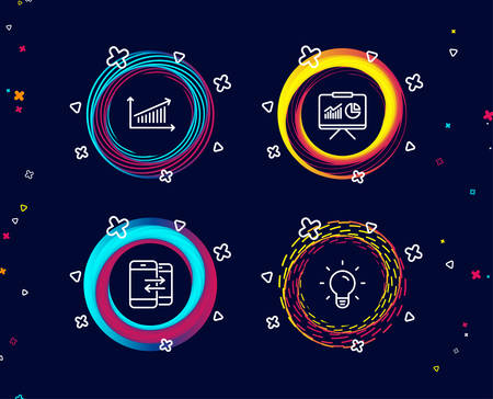 Set of Presentation, Chart and Phone communication icons. Light bulb sign. Board with charts, Presentation chart, Incoming and outgoing calls. Lamp energy.  Circle banners with line icons. Vector