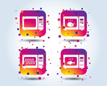 Microwave oven icons. Cook in electric stove symbols. Grill chicken and fish signs. Colour gradient square buttons. Flat design concept. Vector Archivio Fotografico - 107858486