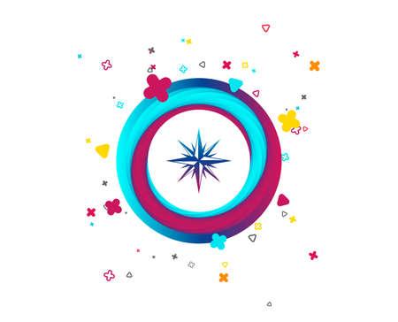 Icono de signo de brújula. Símbolo de navegación Windrose. Botón colorido con icono. Elementos geométricos. Vector