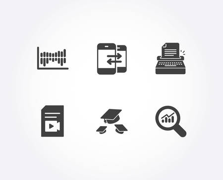 Set of Video file, Typewriter and Column diagram icons. Phone communication, Throw hats and Data analysis signs. Vlog page, Writer machine, Sale statistics. Vector