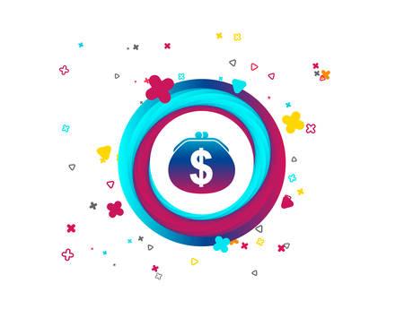 Wallet dollar sign icon. Cash bag symbol. Colorful button with icon. Geometric elements. Vector Foto de archivo - 108288741